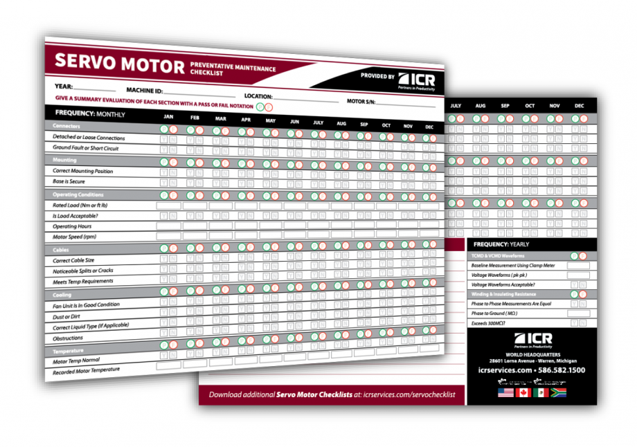 Servo Motor Preventative Maintenance Checklist Graphic