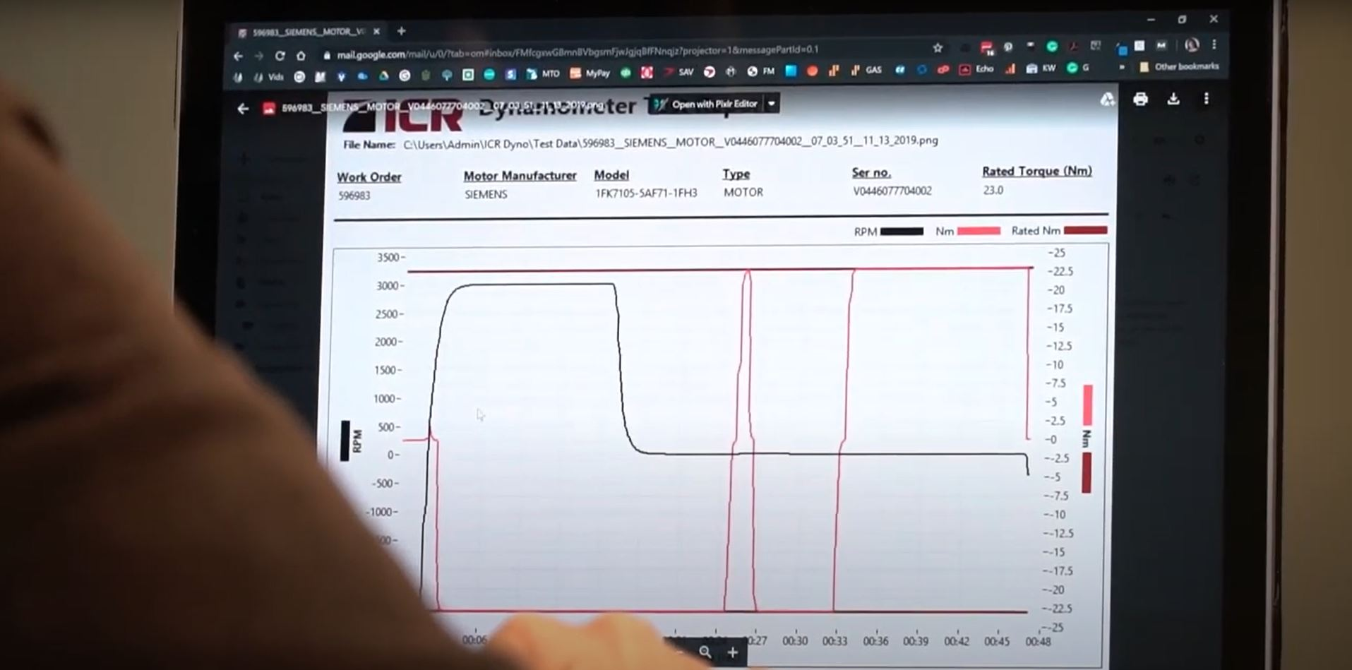 Dynamometer Test Report Showing RPM and Torque Curves